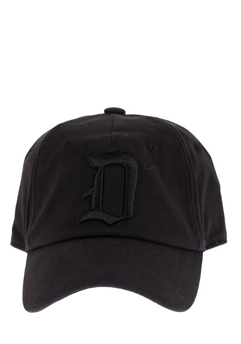 BLACK HAT WITH FRONT LOGO INLAY DONDUP | Hats | UQ077Y00402XXXDUS20999
