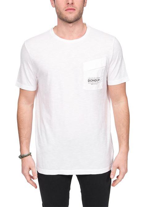 WHITE T-SHIRT WITH LOGO PRINT ON POCKET DONDUP | T-shirt | US198JF0195UZC7DUS20000