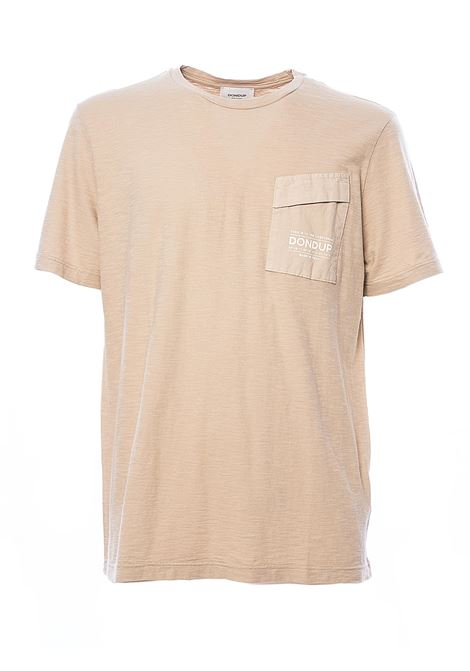 BEIGE T-SHIRT WITH LOGO PRINT ON POCKET DONDUP | T-shirt | US198JF0195UZC7DUS20019