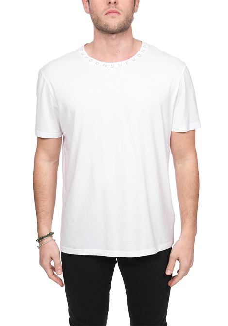 WHITE T-SHIRT WITH LOGO PRINT ON COLLAR DONDUP | T-shirt | US198JF0234UZA3DUS20000