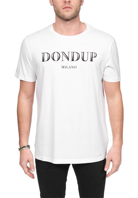 WHITE COTTON T-SHIRT WITH FRONT LOGO PRINT DONDUP | T-shirt | US198JF0234UZA9DUS20000