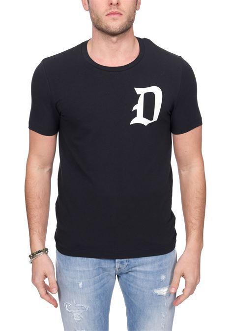 BLUE  COTTON T-SHIRT WITH FRONT LOGO PRINT DONDUP | T-shirt | US221JS0125ZC5DUS20890