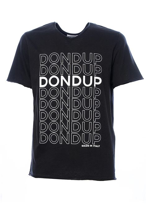 BLACK LINEN AND COTTON BLEND T-SHIRT WITH ALL OVER FRONT LOGO PRINT DONDUP | T-shirt | US304JF0265UZF3DU999