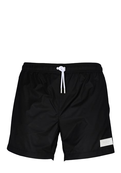 BLACK NYLON SEA SHORTS WITH FRONT LOGO APPLICATION DONDUP | Swimsuits | XE021Y00429XXXDUS20999