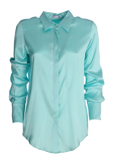 ALICE SATIN TURQUOISE SHIRT IN SILK DOU DOU | Shirts | 20SMDDCW000028027