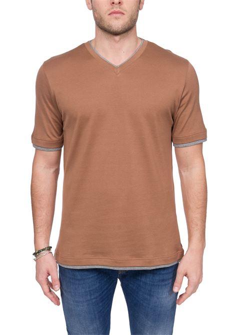 BROWN PLATINUM COTTON T-SHIRT ELEVENTY | T-shirt | A75TSHA06JER0A00604
