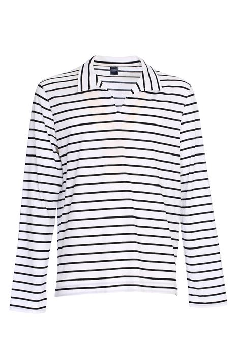 WHITE POLO SHIRT WITH STRIPED COTTON FANTASY FEDELI | Polo Shirts | 3UE0E274E/36