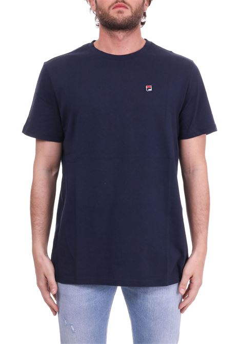 BLUE COTTON T-SHIRT WITH MINI PATCH LOGO FILA | T-shirt | 682393170