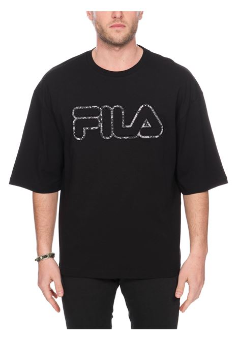 T-SHIRT NERA CON APPLICAZIONE LOGO FRONTALE FILA | T-shirt | 684638002