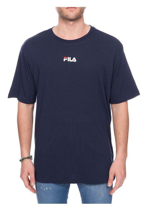 T-SHIRT BLU IN COTONE CON LOGO FRONTE RETRO FILA | T-shirt | 687484170