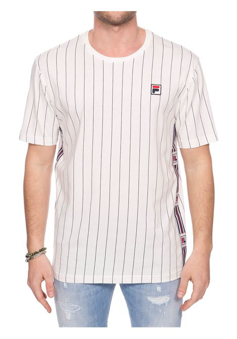 WHITE COTTON T-SHIRT WITH FRONT LOGO APPLICATION FILA | T-shirt | 687641F50