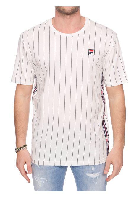 T-SHIRT BIANCA IN COTONE CON APPLICAZIONE LOGO FRONTALE FILA | T-shirt | 687641F50