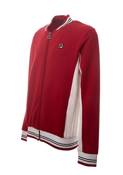 RED COTTON BLEND SWEATSHIRT WITH FRONT LOGO APPLICATION FILA | Sweatshirts | 687653A532