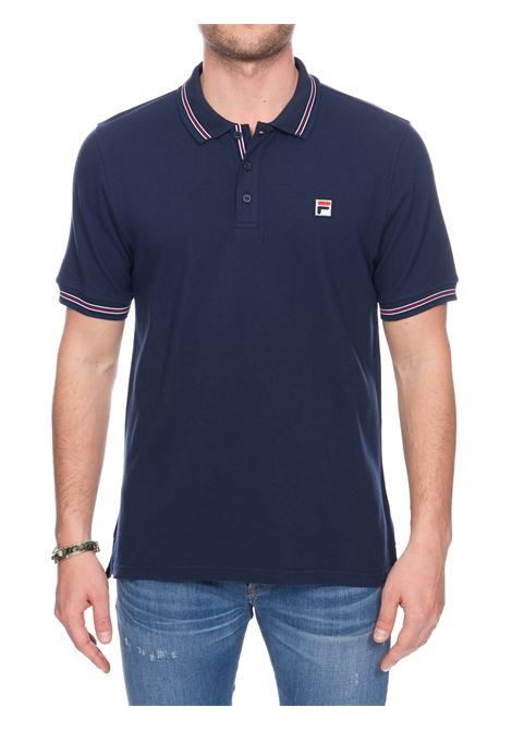 BLUE COTTON POLO WITH FRONT LOGO EMBROIDERY FILA | Polo Shirts | 687656170