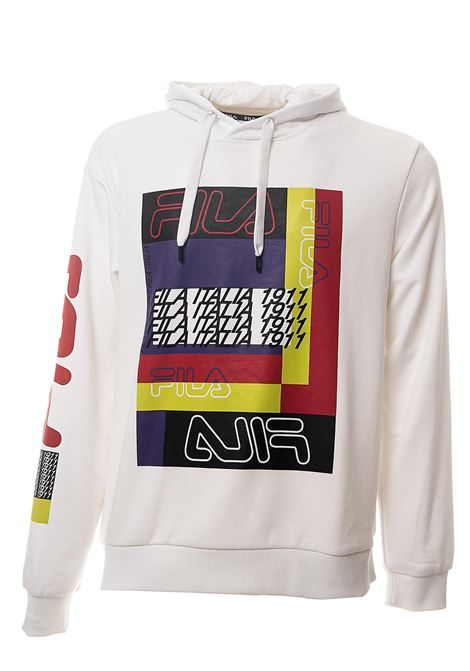 WHITE SWEATSHIRT IN MIXED CONTONE WITH FRONT LOGO PRINT FILA | Sweatshirts | 687682M67