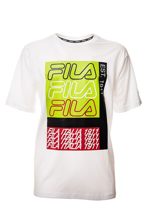 WHITE COTTON T-SHIRT WITH FRONT LOGO PRINT FILA | T-shirt | 687684M67