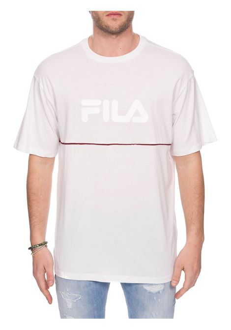 WHITE T-SHIRT WITH FRONT RUBBER LOGO FILA | T-shirt | 687725M67