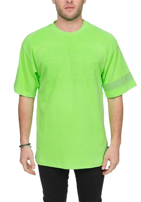 GREEN COTTON T-SHIRT WITH FRONT LOGO EMBROIDERY GCDS | T-shirt | CC94M021007VERDE