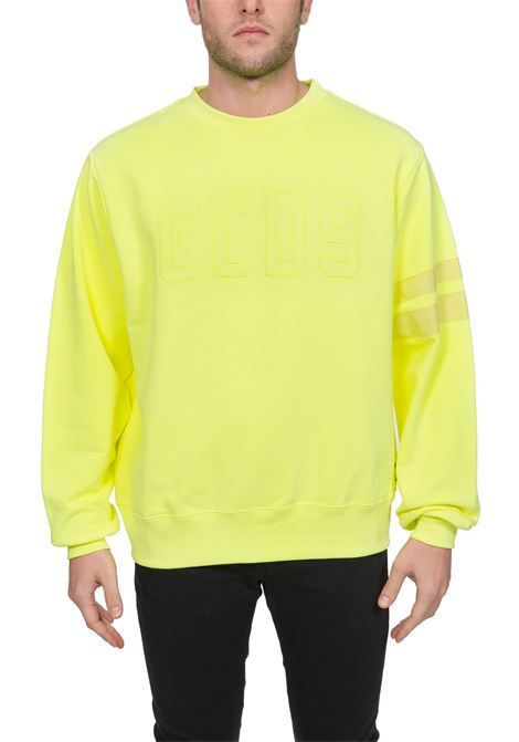 YELLOW COTTON SWEATSHIRT WITH FRONT LOGO EMBROIDERY GCDS | Sweatshirts | CC94M02100843