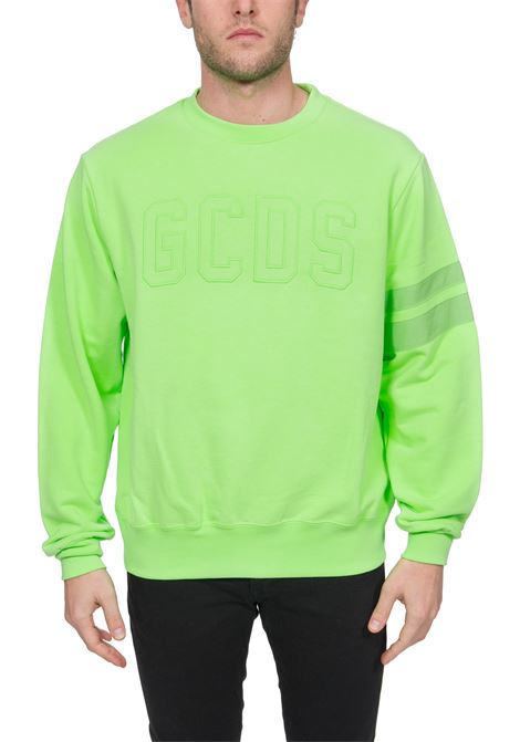 GREEN COTTON SWEATSHIRT WITH FRONT LOGO EMBROIDERY GCDS | Sweatshirts | CC94M02100845