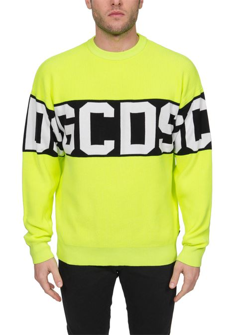 YELLOW FLUO SWEATER ALL BAND LOGO IN COTTON GCDS | Sweaters | CC94M02110343