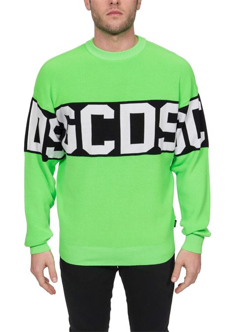 GREEN FLUO SWEATER ALL BAND LOGO IN COTTON GCDS | Sweaters | CC94M02110345