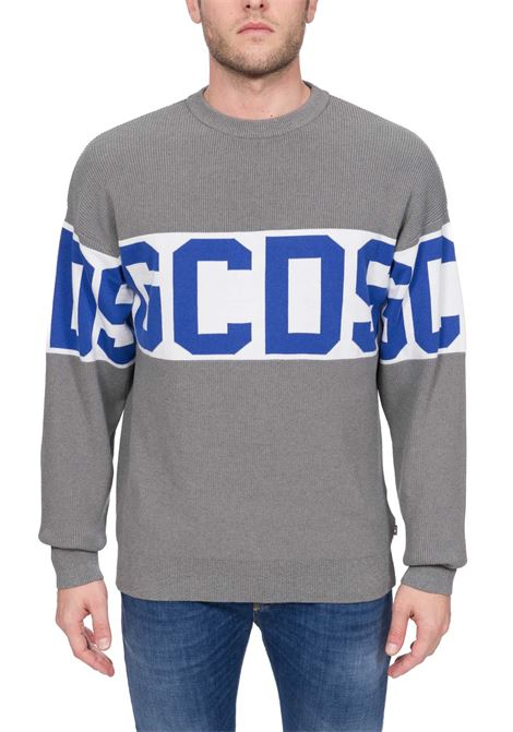 GRAY COTTON BLEND SWEATER WITH FULL LOGO EMBROIDERY GCDS | Sweaters | CC94M02110410
