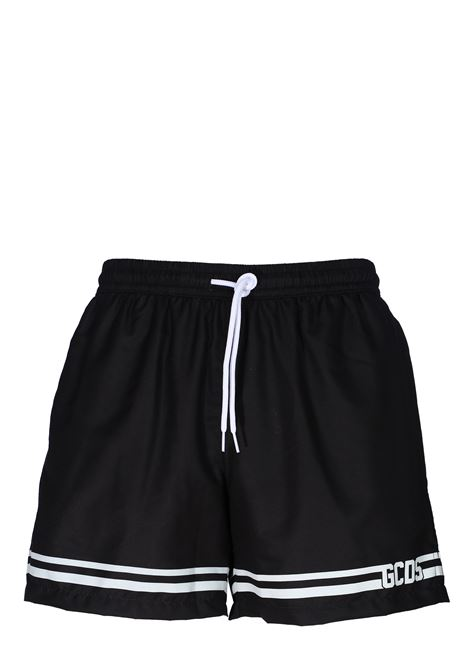 BLACK SEA SHORTS WITH FRONT LOGO PRINT GCDS | Swimsuits | CC94M05000102