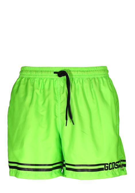 GREEN FLUO SEA SHORTS WITH FRONT LOGO PRINT GCDS | Swimsuits | CC94M05000145