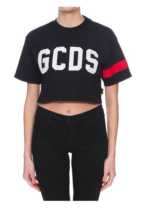 T-SHIRT NERA IN COTONE CON LOGO CROP GCDS | T-shirt | CC94W02100502