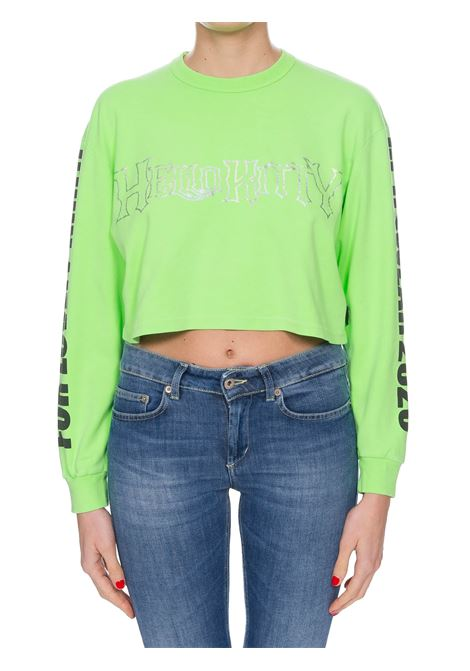 T-SHIRT HELLO KITTY VERDE FLUO CROP GCDS | T-shirt | HK20W02000445