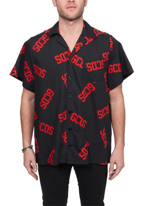BLACK MULTICOLOR MONOGRAM COTTON SHIRT GCDS | Shirts | SS20M02002703