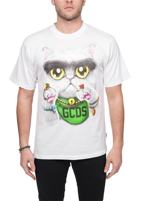 T-SHIRT BIANCA IN COTONE HUGE CAT TEE GCDS | T-shirt | SS20M02LC7601