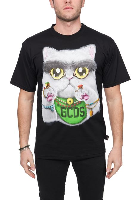 BLACK COTTON T-SHIRT HUGE CAT TEE GCDS | T-shirt | SS20M02LC76025
