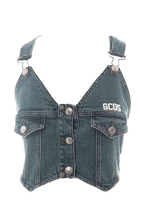 COTTON DENIM TOP WITH FRONT LOGO APPLICATION GCDS | Tops | SS20W02005907