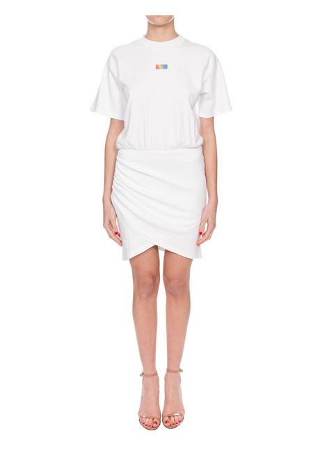 WHITE COTTON DRESS WITH FRONT LOGO APPLICATION GCDS | Dress | SS20W02008501