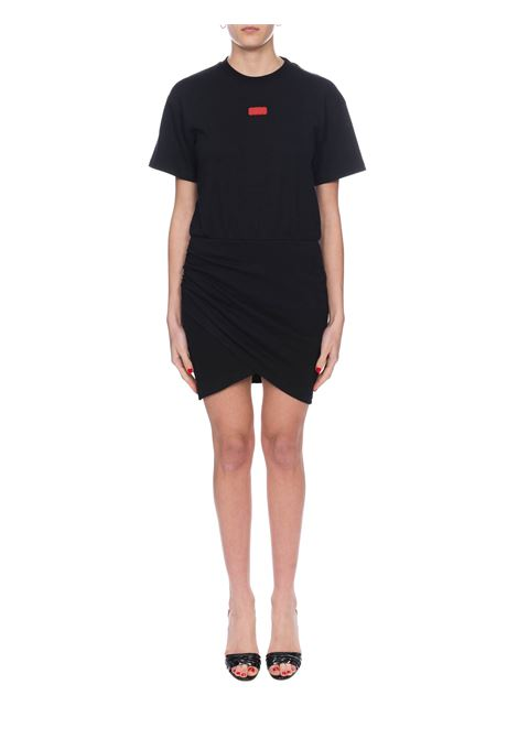 BLACK COTTON DRESS WITH FRONT LOGO APPLICATION GCDS | Dress | SS20W02008502