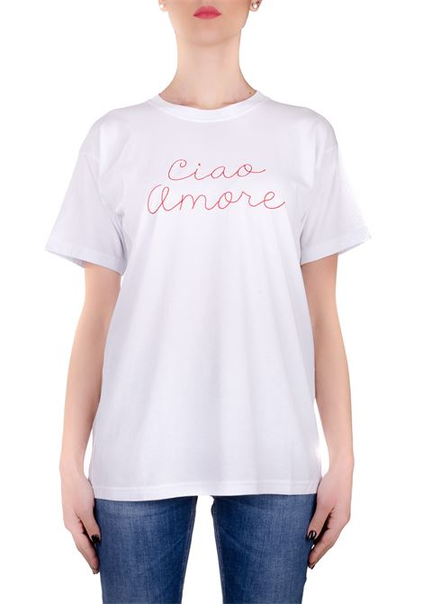 WHITE T-SHIRT IN HELLO LOVE COTTON GIADA BENINCASA | T-shirt | P0801BTS1