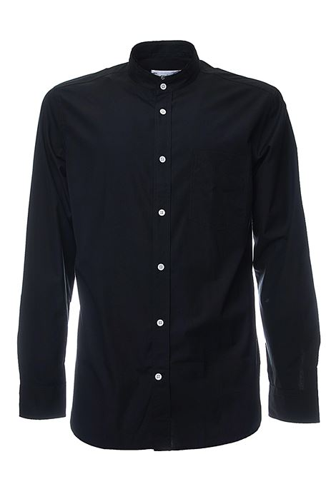 BLACK COTTON SHIRT WITH KOREAN COLLAR GRIFONI | Shirts | GG120013/8003