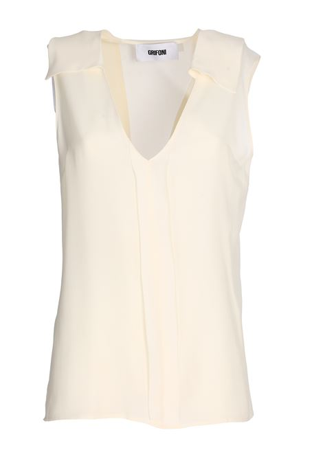 WHITE SILK BLEND TOP GRIFONI | Tops | GG220018/110045