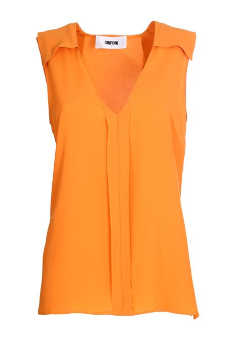 TOP ARANCIONE IN MISTO SETA GRIFONI | Top | GG220018/111583