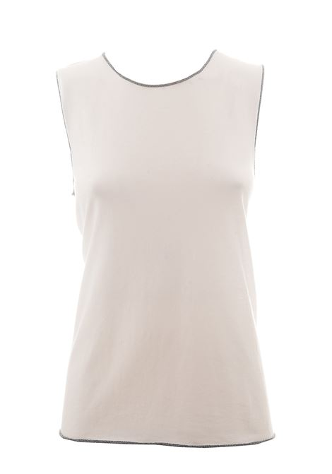 WHITE COTTON TANK WITH LUREX DETAILS KANGRA |  | 9960301
