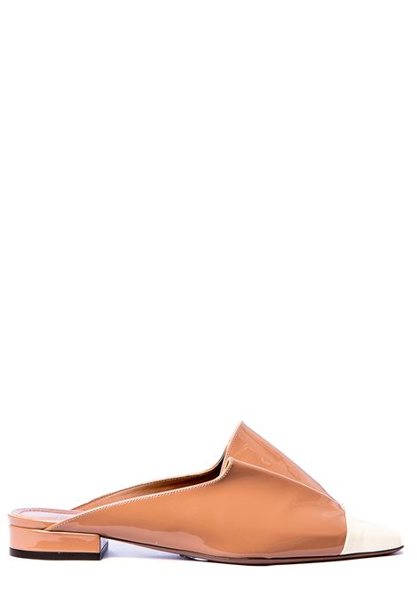 BICOLOR NUDE AND WHITE PAINT EFFECT MULES L'AUTRE-CHOSE | Mules | LDLJ17120CP1893G478NUDE