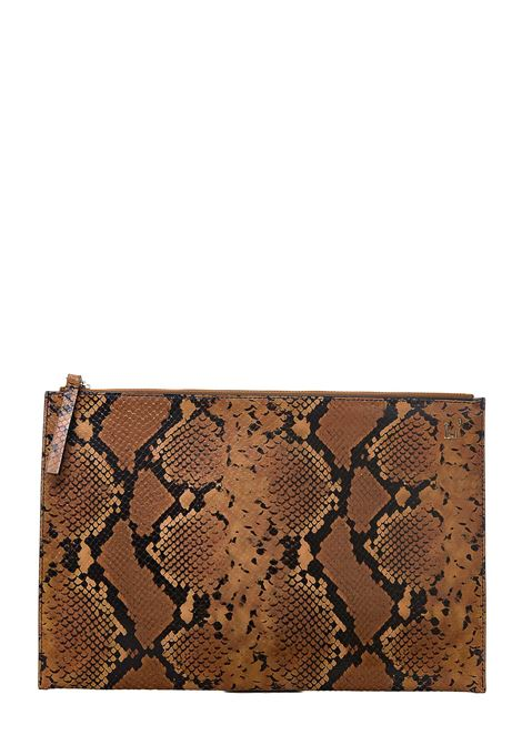 SNAKE-EFFECT LEATHER CLUTCH WITH COCONUT PRINT L'AUTRE-CHOSE | Clutches | LPL00303529182106CIGAR