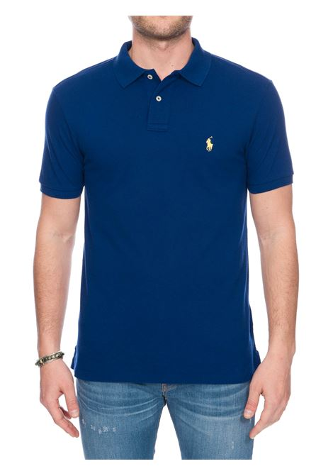 BLUE COTTON POLO WITH FRONT LOGO EMBROIDERY Lacoste | Polo Shirts | DH2050L61