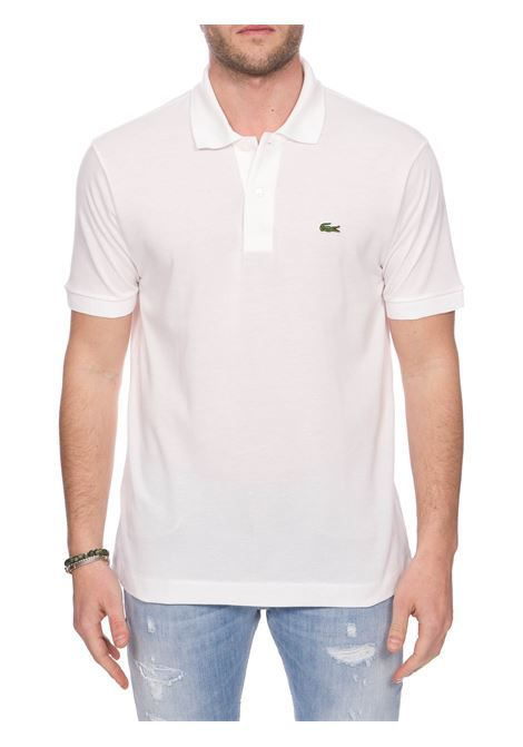 WHITE COTTON POLO WITH FRONT LOGO EMBROIDERY Lacoste | Polo Shirts | L1212001