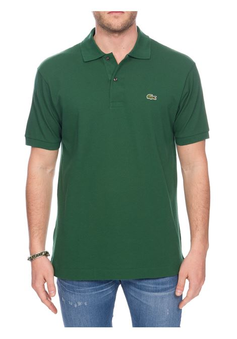 GREEN COTTON POLO WITH FRONT LOGO EMBROIDERY Lacoste | Polo Shirts | L1212132