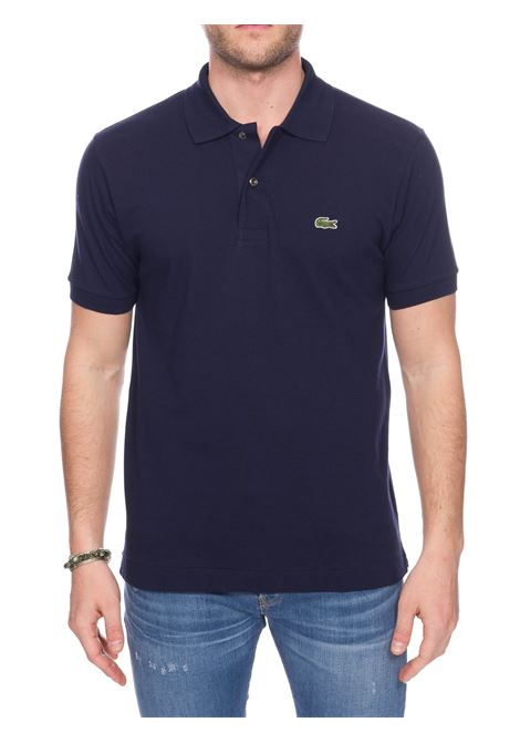 BLUE COTTON POLO WITH FRONT LOGO EMBROIDERY Lacoste | Polo Shirts | L1212166