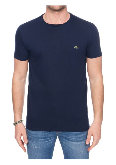 BLUE COTTON T-SHIRT WITH FRONT LOGO APPLICATION Lacoste | T-shirt | TH6709166