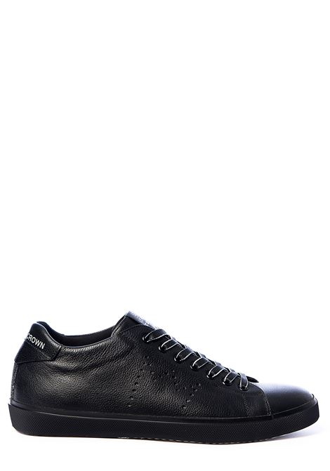 BLACK LEATHER SNEAKERS ICONIC WITH PERFORATED CROWN LEATHER CROWN | Sneakers | M-ICONIC19NERO
